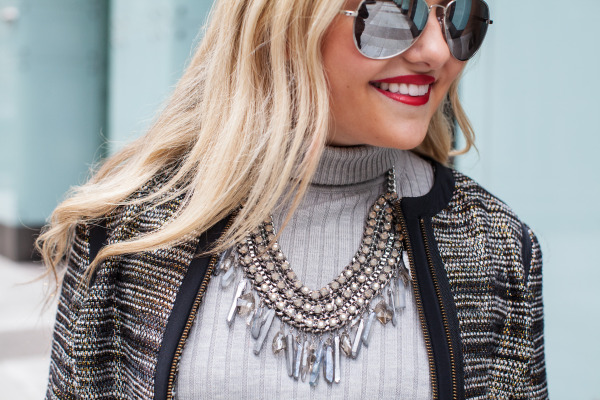 mirrored aviator sunglasses with statement necklace