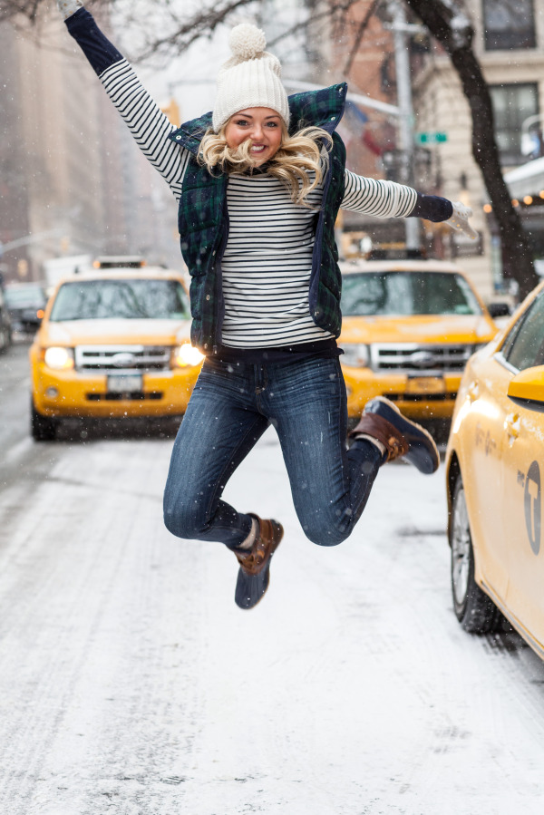 nyc jumping in the snow picture