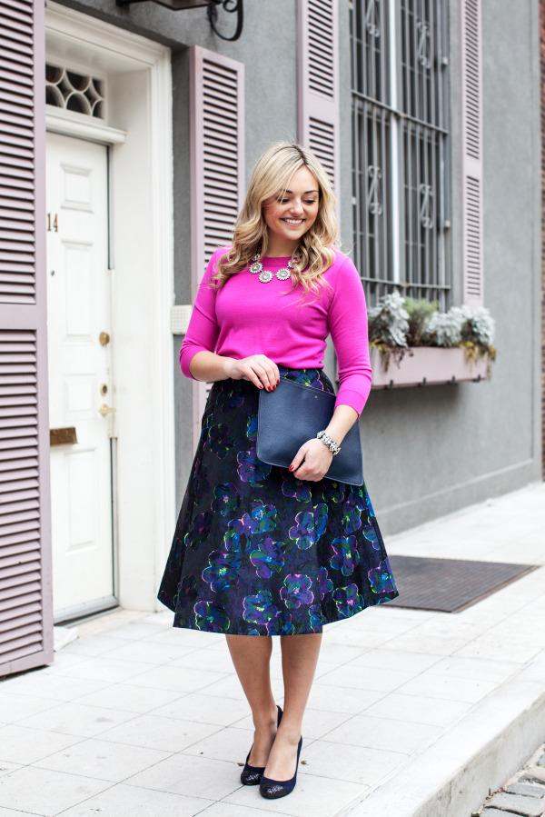 pink sweater with floral skirt