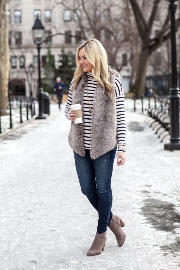 striped turtleneck fur vest