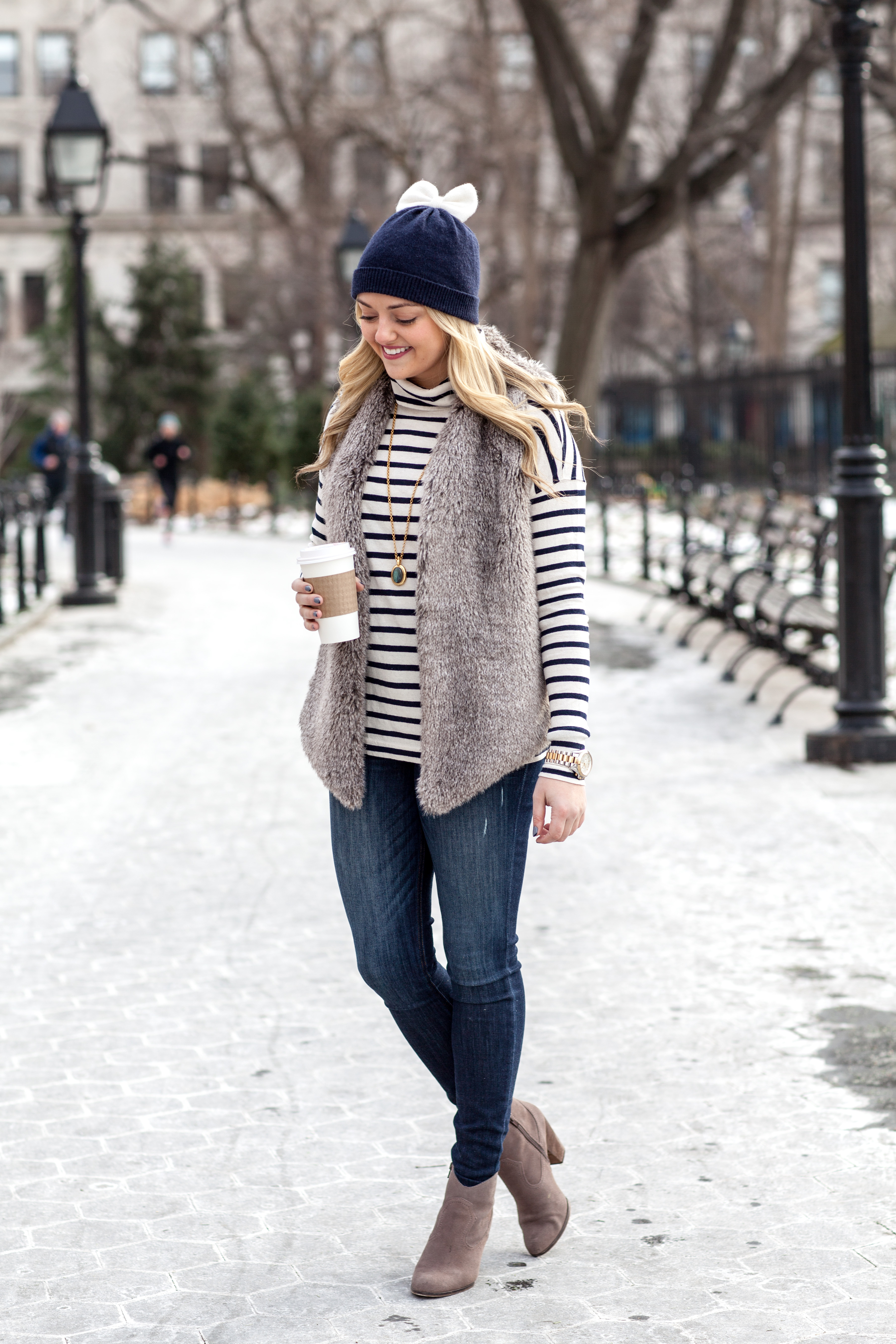 15aa3db0a4a Tart Collections Vest (also available here) Express Jeans · Steve Madden  Booties (also available here) Julie Vos Necklace · Kate Spade Beanie ...