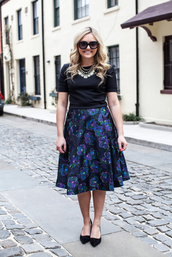 what to wear with a full floral skirt
