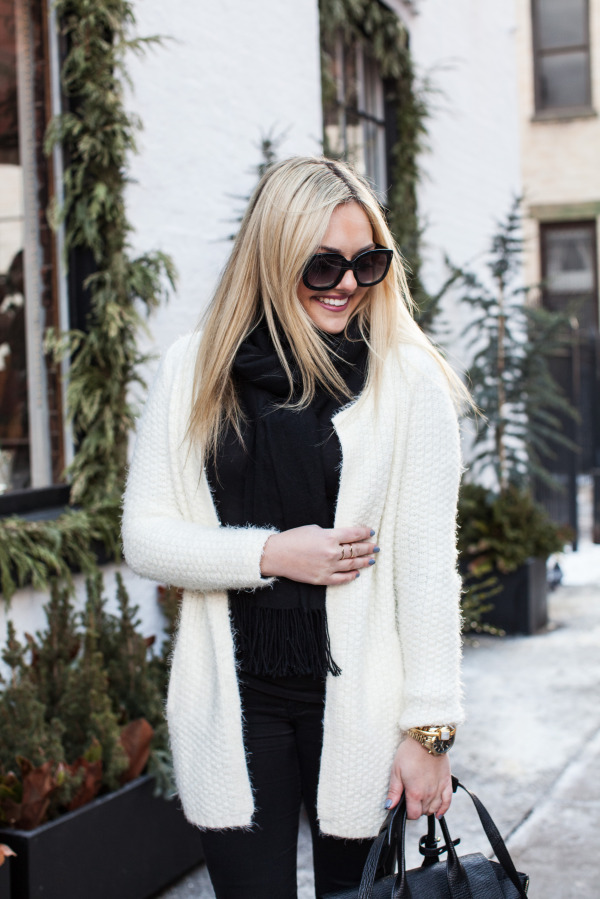 white textured cardigan sweater
