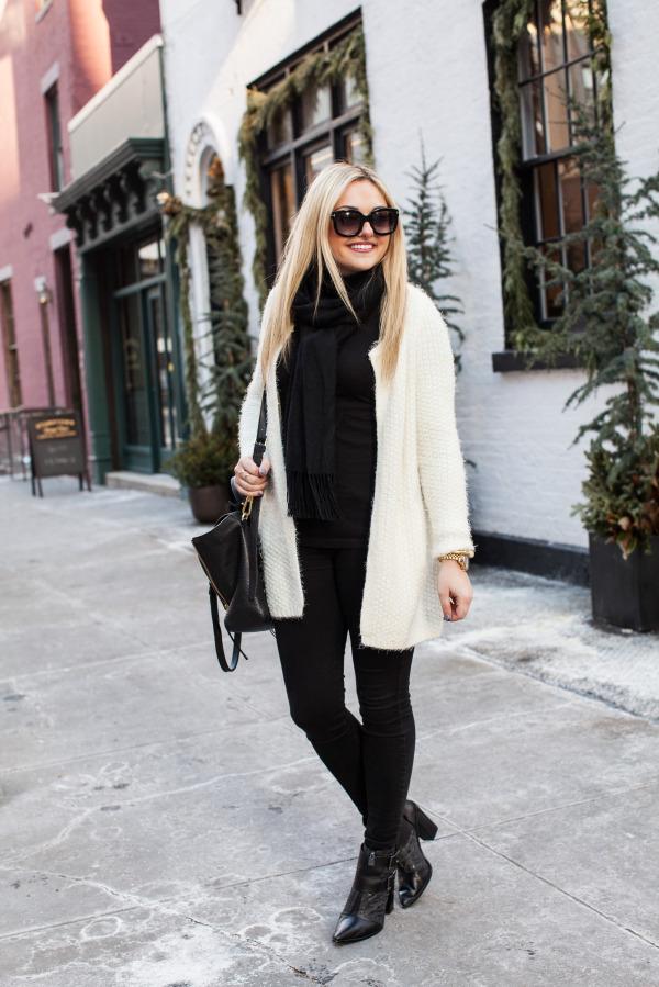 winter white fuzzy cardigan sweater