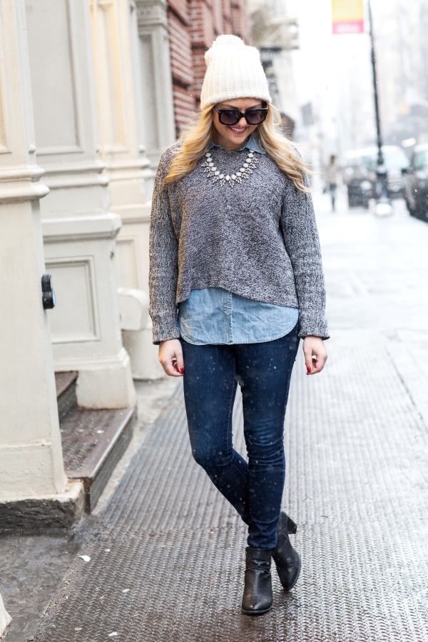 bcbg cropped sweater, j.crew chambray sweater, j brand jeans