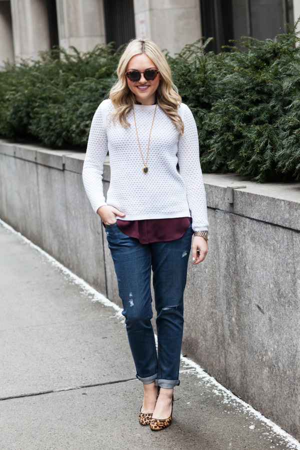 boyfriend jeans casual friday outfit