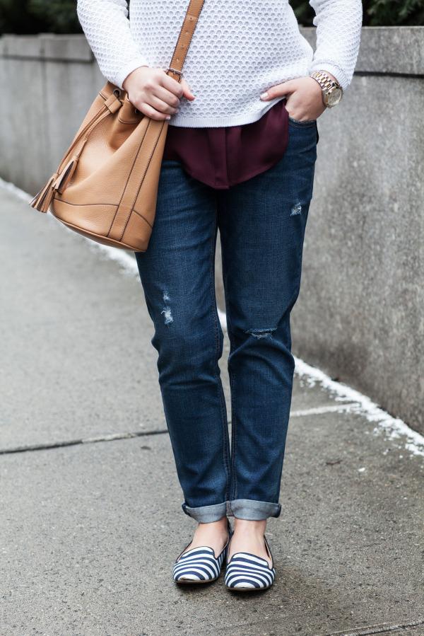 boyfriend jeans, striped loafers