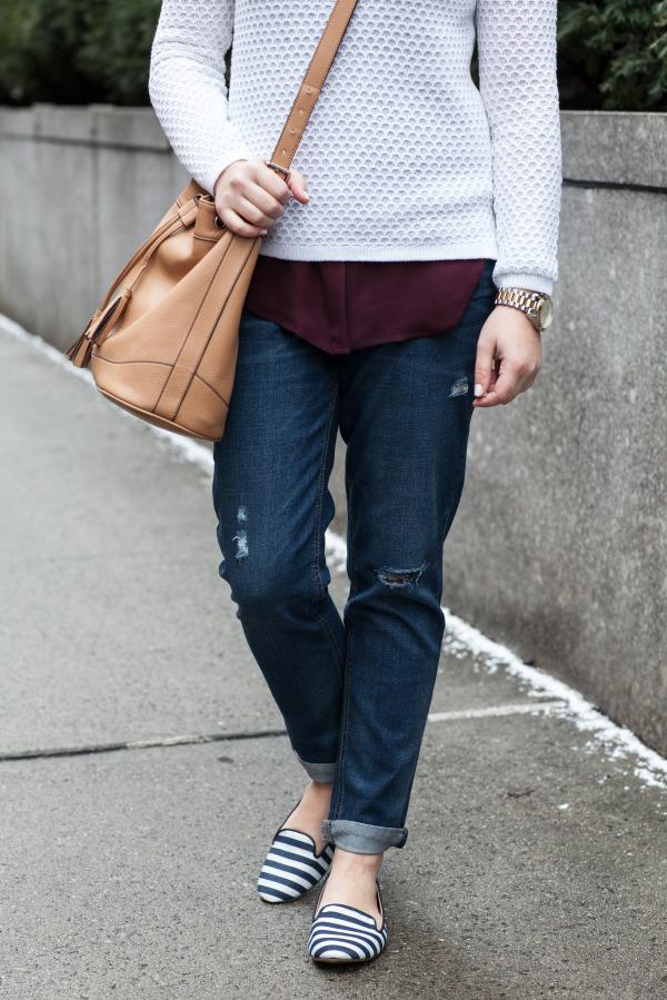 boyfriend jeans weekend outfit preppy