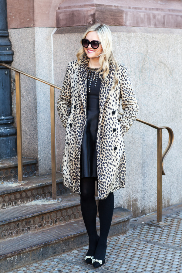 by malene birger leopard coat, cynthia rowley black embellished dress, kate spade black rhinestone bow pumps