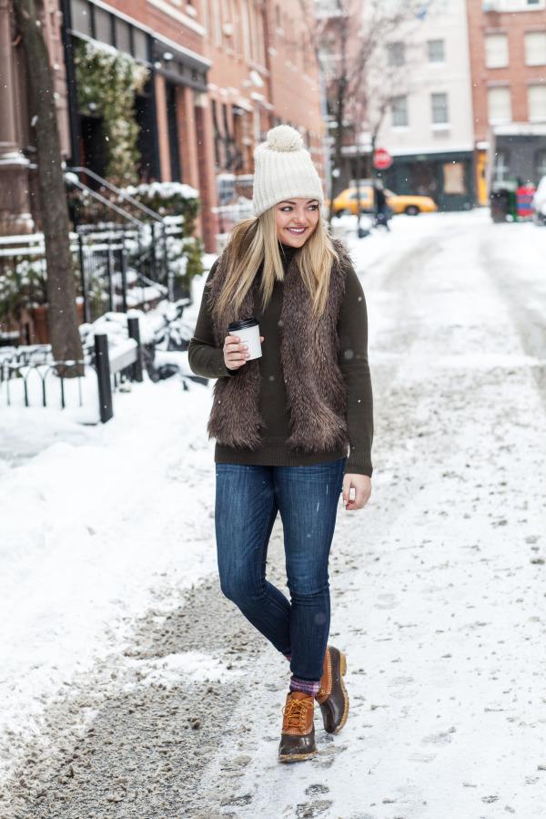 fur vest, turtleneck sweater, duck boots outfit