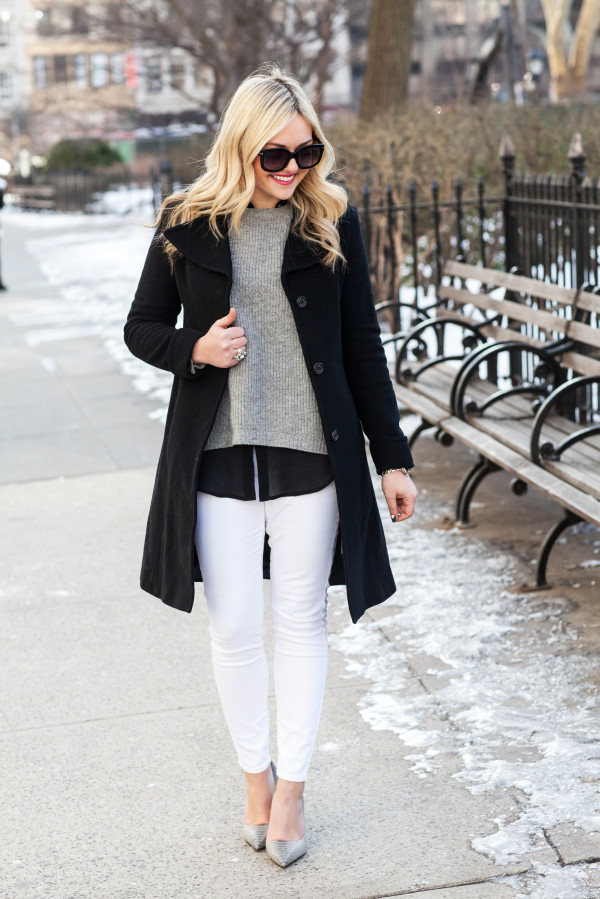 how to wear white jeans in the winter blogger outfit new york city