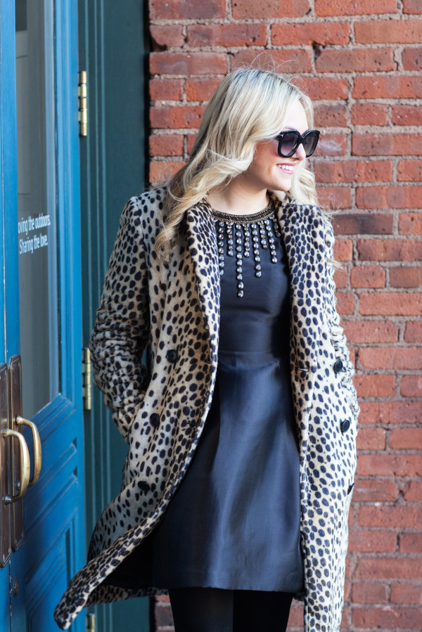 leopard coat, LBD black dress