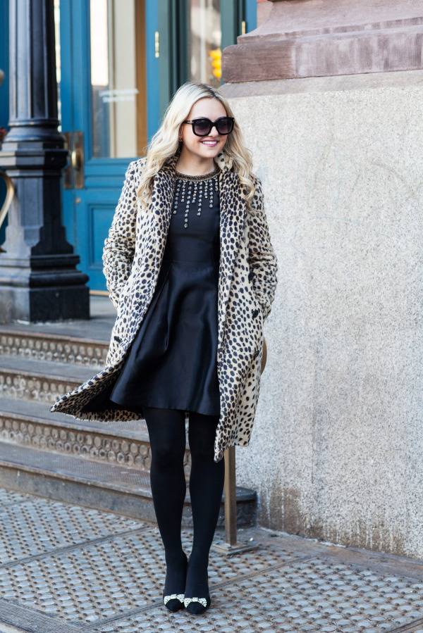 nyfw outfit leopard coat