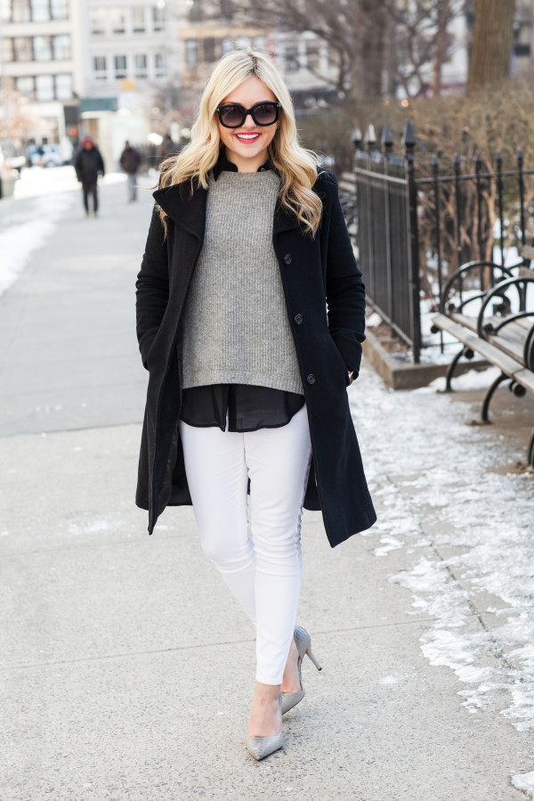 ralph lauren black wool coat, j.crew sweater, white jeans, michael kors grey pumps