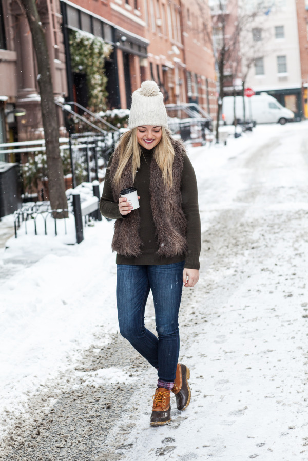 snow day nyc outfit west village