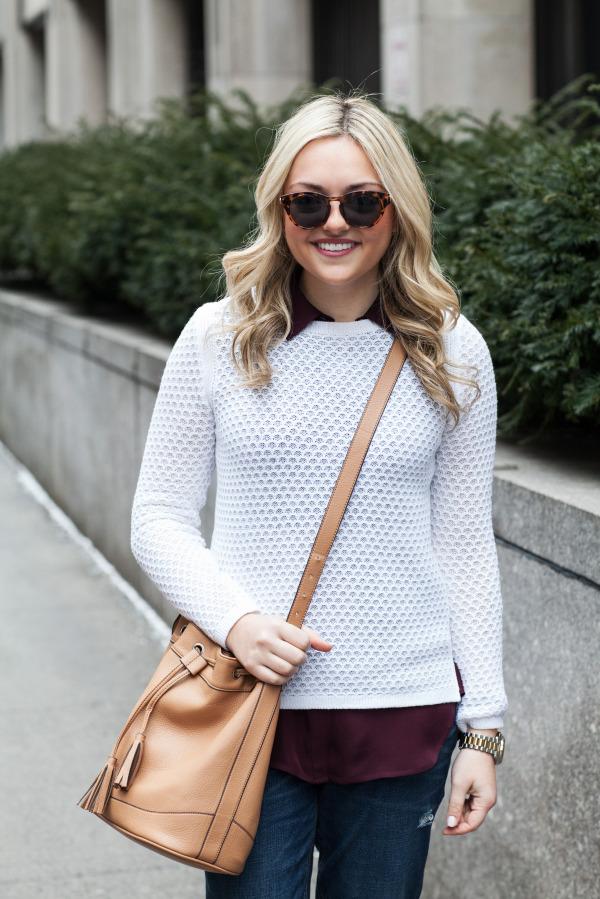 white sweater, camel bag, burgundy silk top