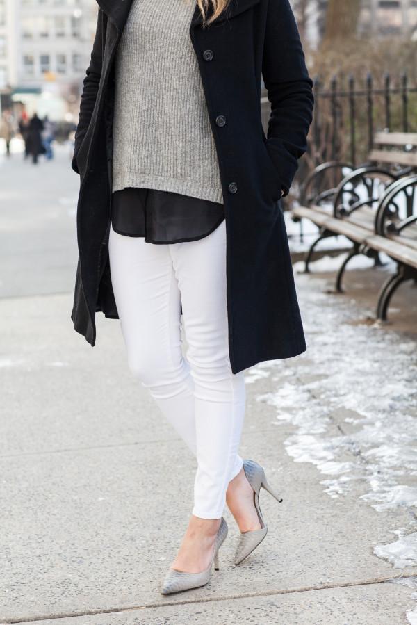 winter white jeans black coat grey pumps