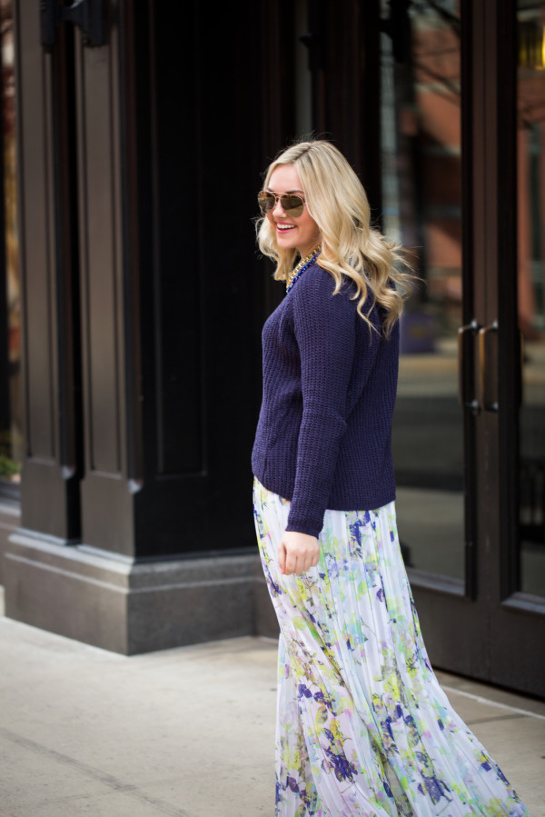 bb dakota chunky navy sweater, bcbg floral pleated maxi skirt