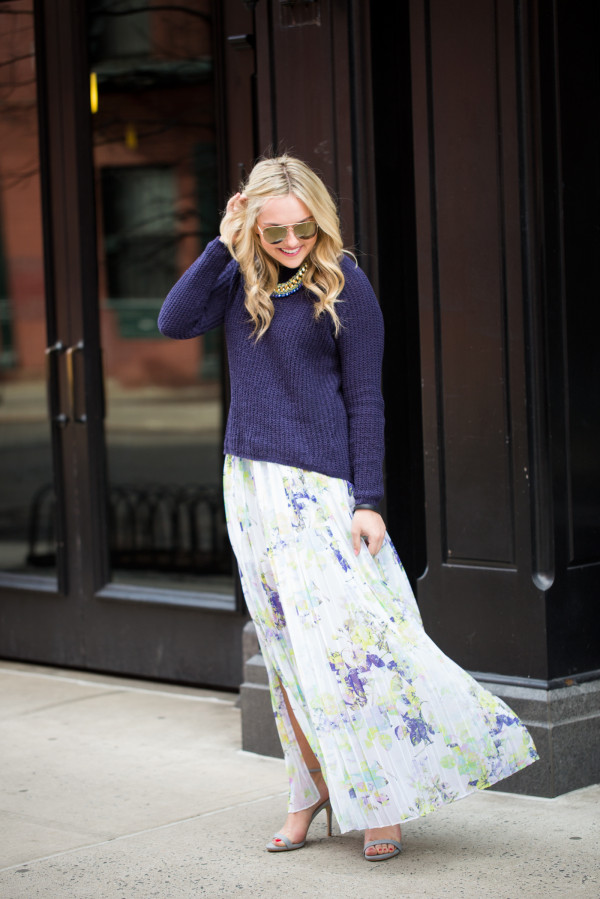 bb dakota sweater, bcbg floral maxi skirt