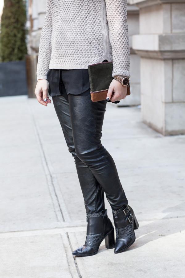 blank denim best faux leather leggins