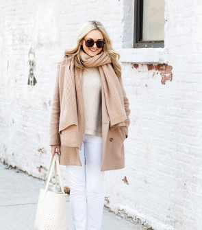 camel coat and scarf with white jeans and leopard pumps