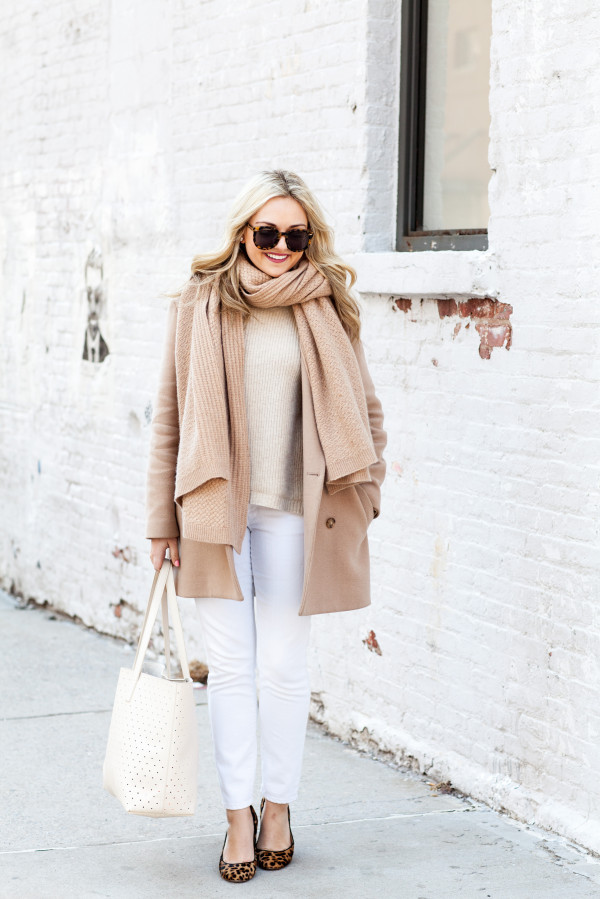 Bows & Sequins styling a camel and white outfit for winter!