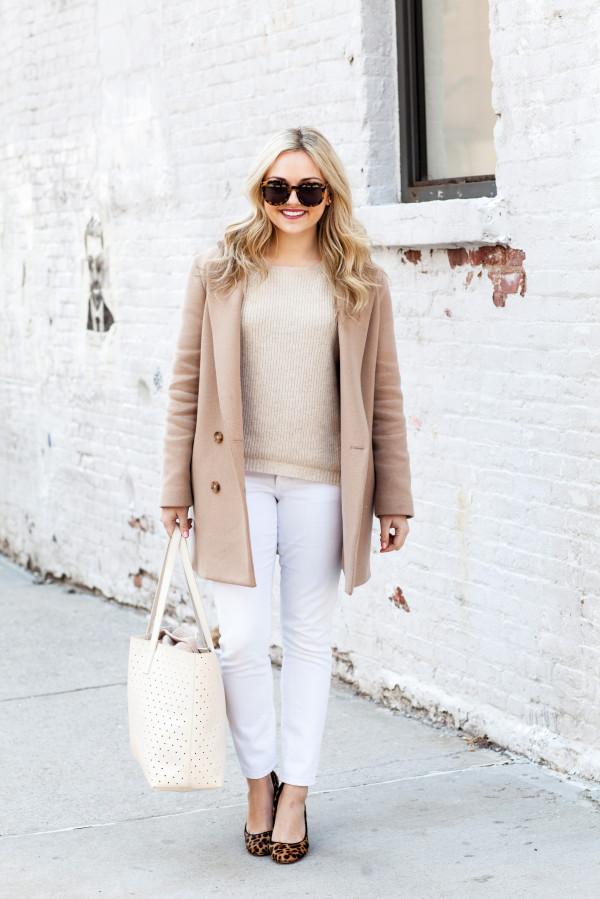 camel coat, oatmeal sweater, white jeans, perforated tote, leopard pumps, karen walker sunglasses