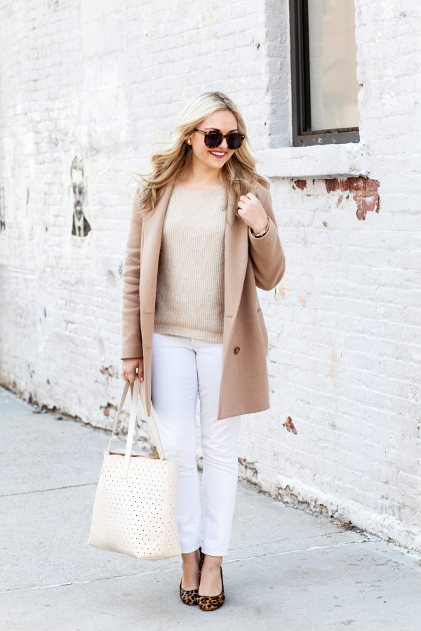 camel coat with white jeans leopard pumps and perforated tote