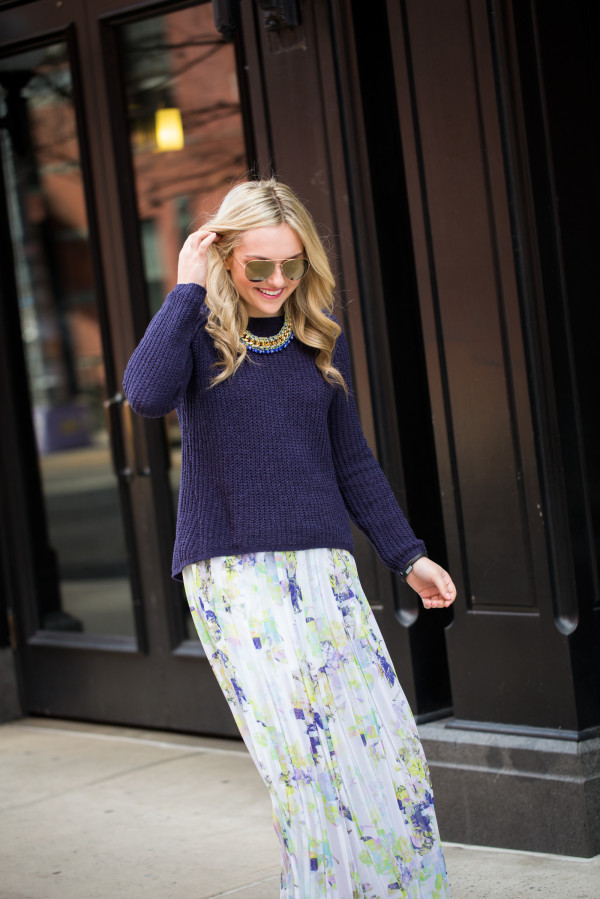 chunky sweater with floral skirt