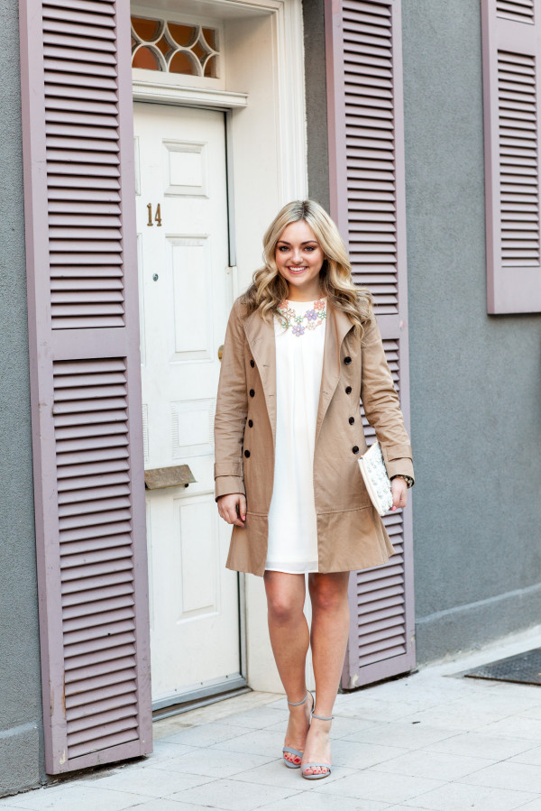 classic spring outfit trench coat white dress pastels