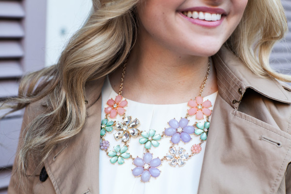 crystal and pastel flower floral statement necklace