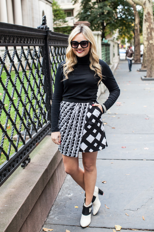 j.crew tissue turtleneck, black and white printed skirt, black and white booties