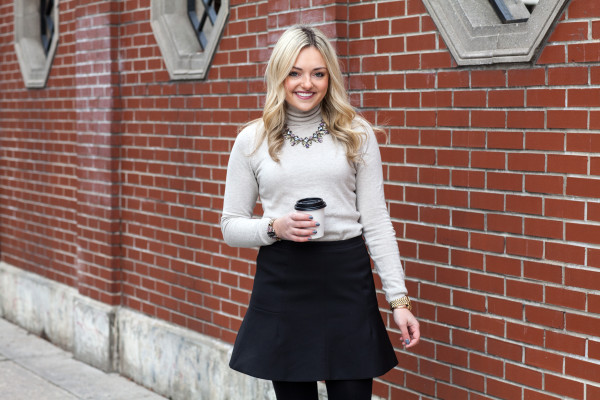 zara turtleneck and j.crew skirt