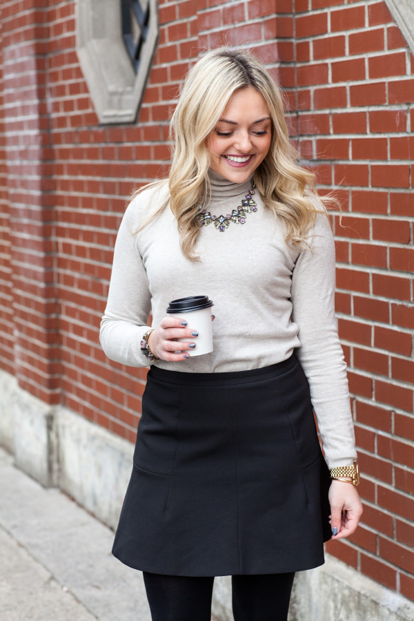 jcrew flared skirt winter outfit
