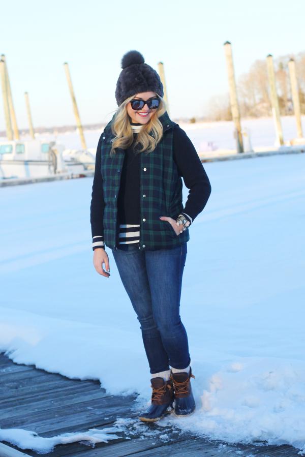 plaid-puffy-vest-striped-turtleneck-duck-boots