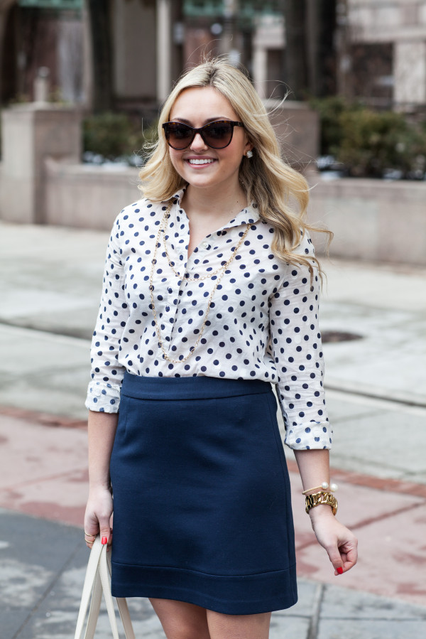 polka dot button front shirt