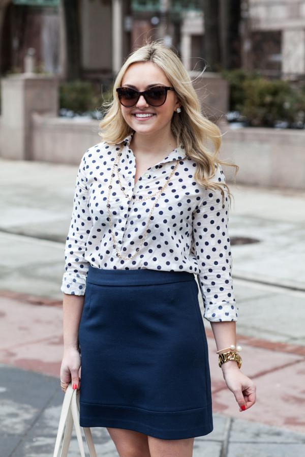 polka dot button front shirt