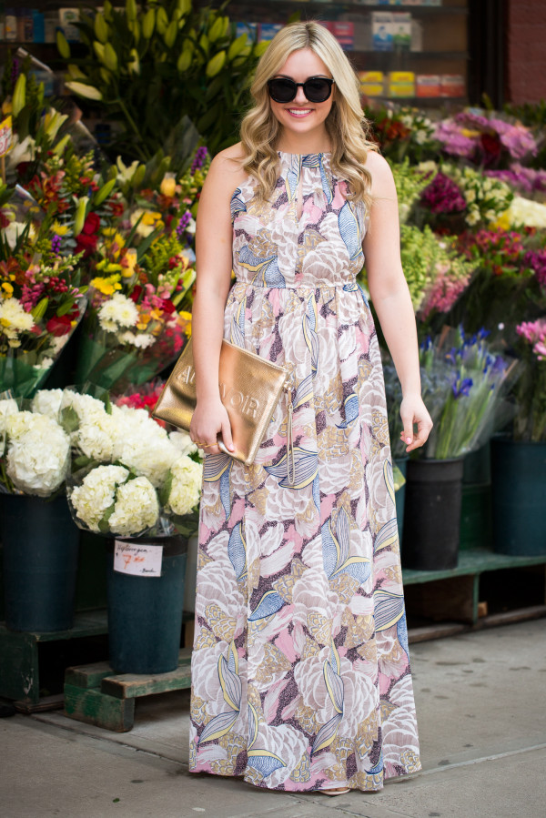 printed maxi dress high neckline