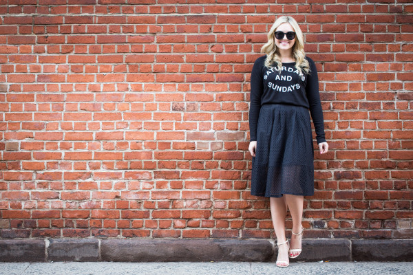 saturdays and sundays sweatshirt, eyelet skirt