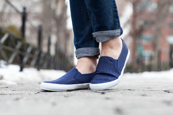 slip-on sneakers navy blue perforated old navy