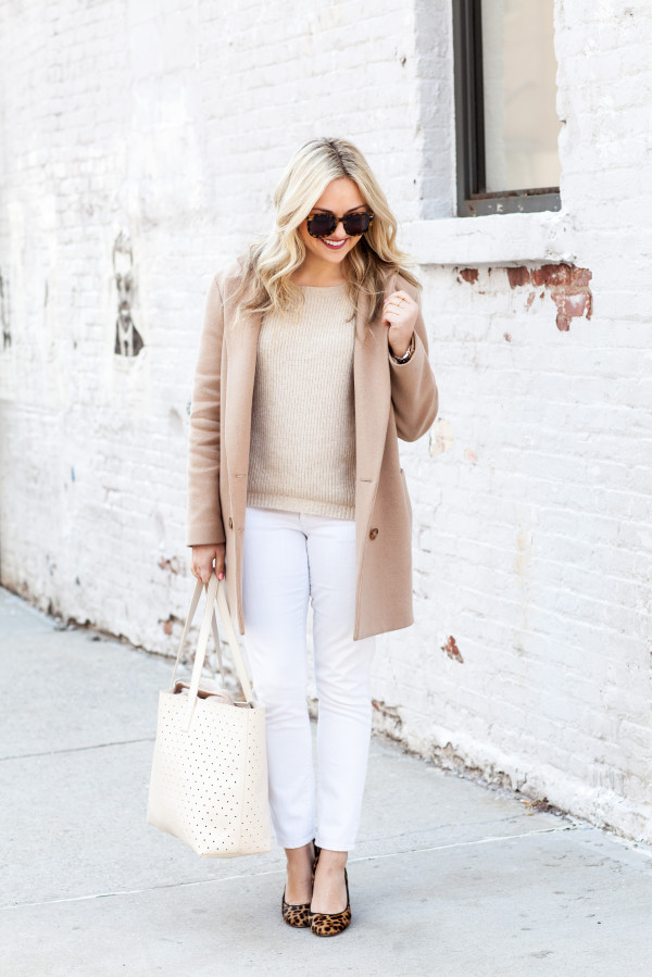 spring outfit camel coat white jeans