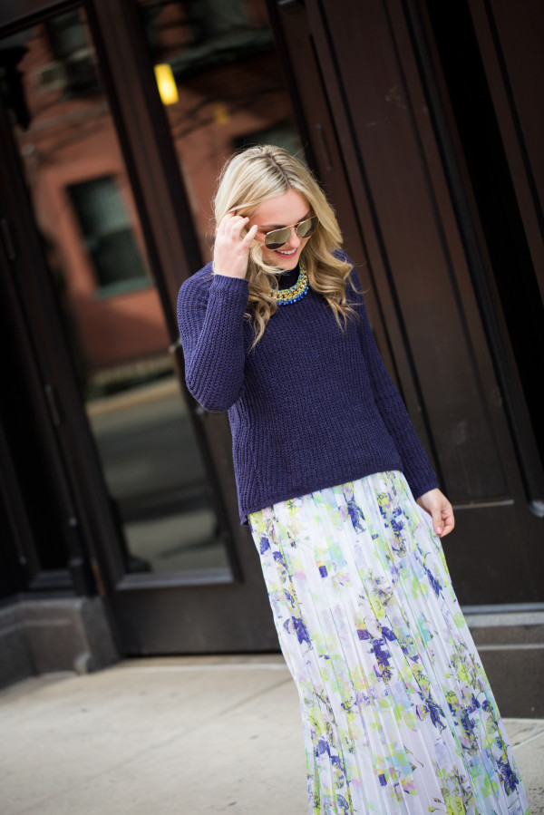 spring outfit thick sweater with floral maxi skirt
