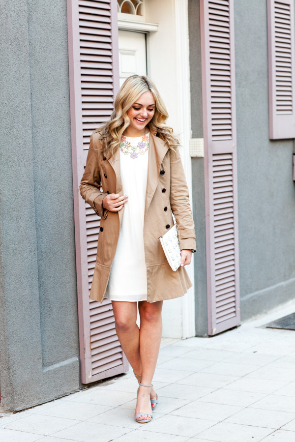 spring outfit trench coat white dress