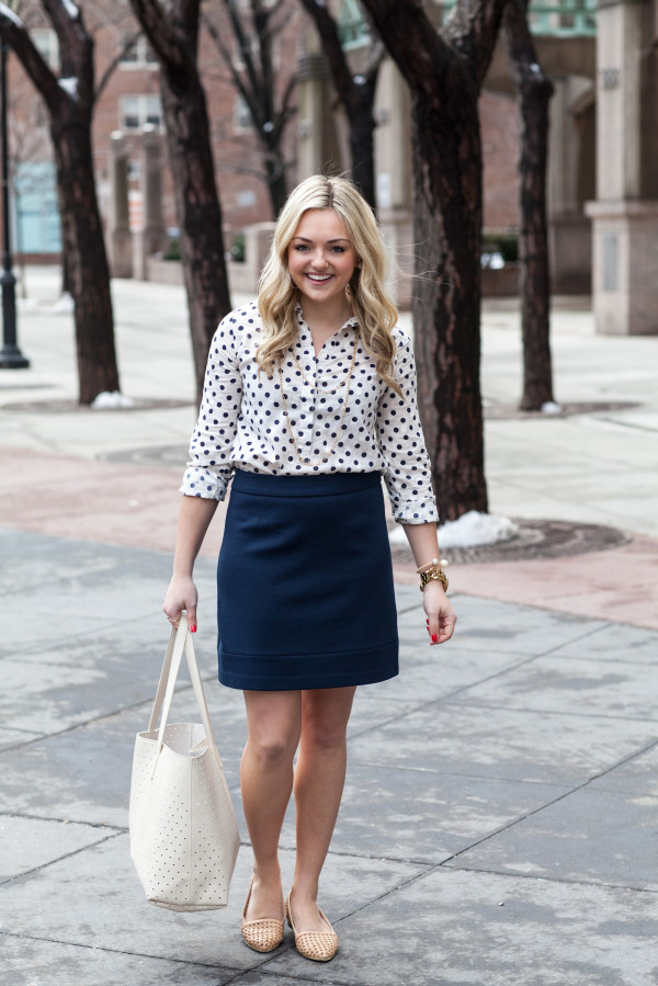 spring work outfit -- polka dot shirt, pencil skirt, basketweave flats