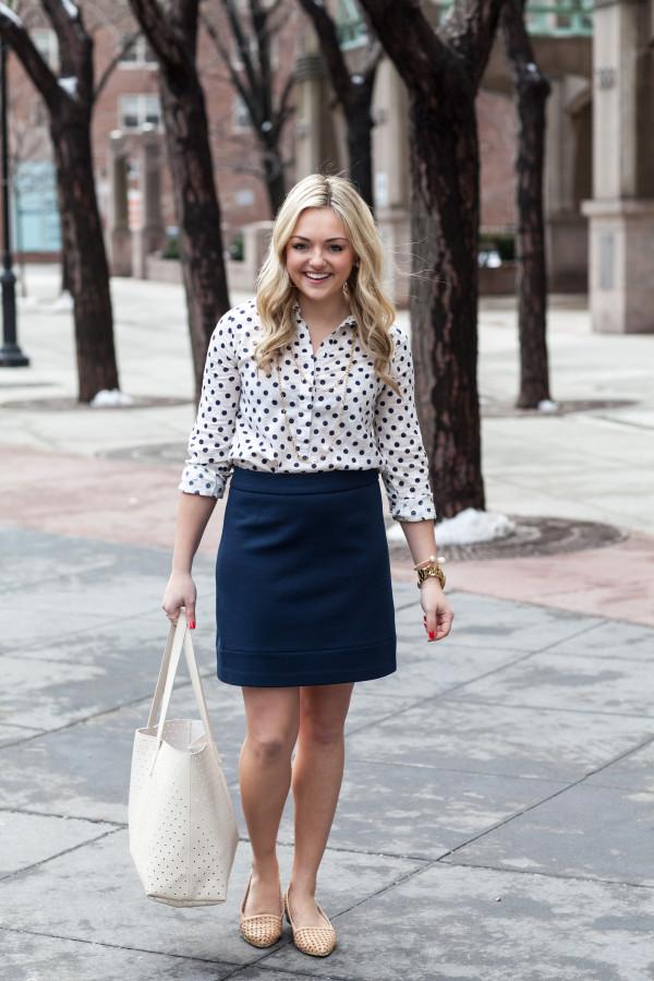 spring work outfit -- polka dot shirt, pencil skirt, basketweave flats