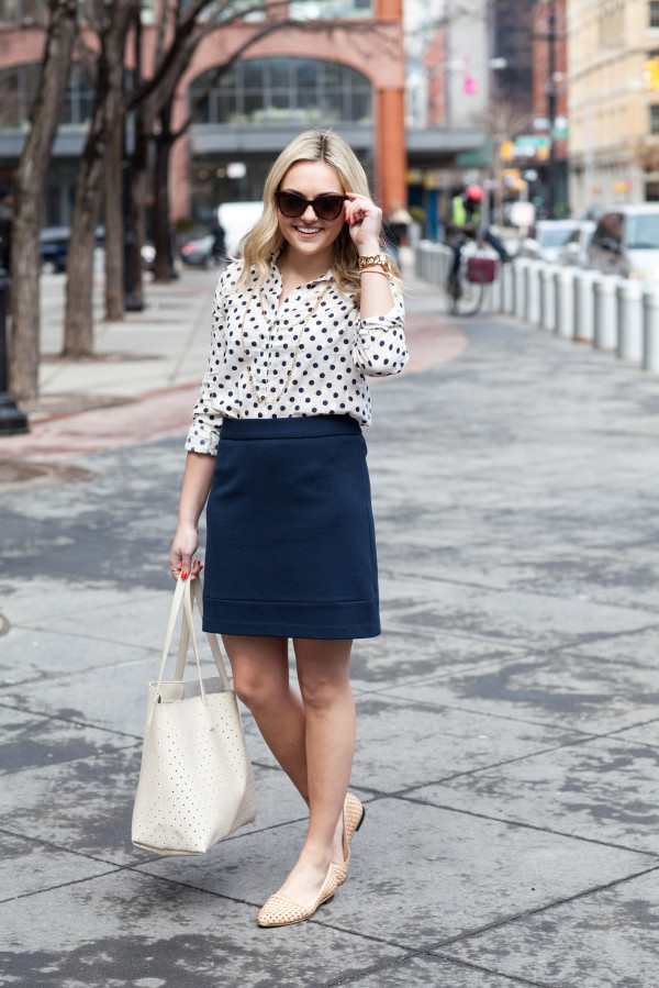 spring work outfit polka dots skirt perforated tote