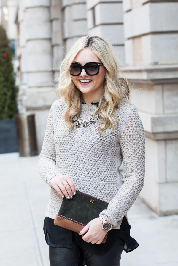 sweater and statement necklace