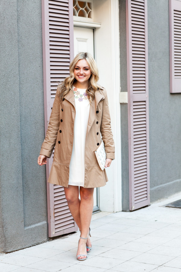 trench coat with white dress