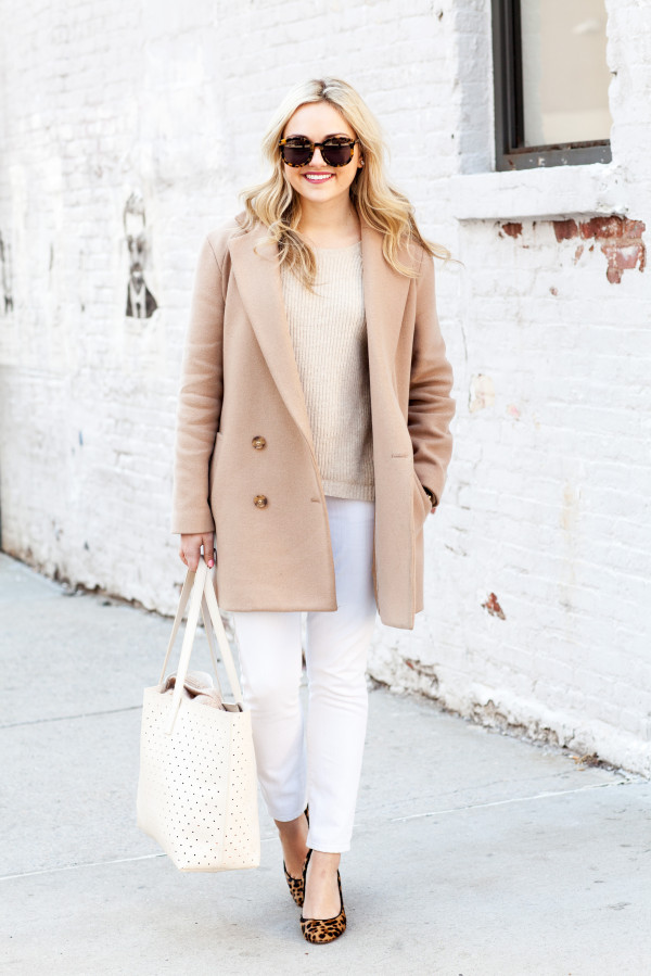 white and tan monochromatic outfit