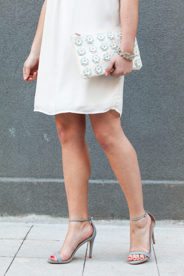 white dress powder blue strappy heels floral clutch